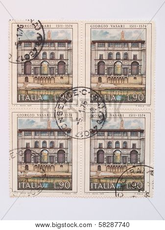 Mail Stamp From Italy With The Uffizi Building In Florence