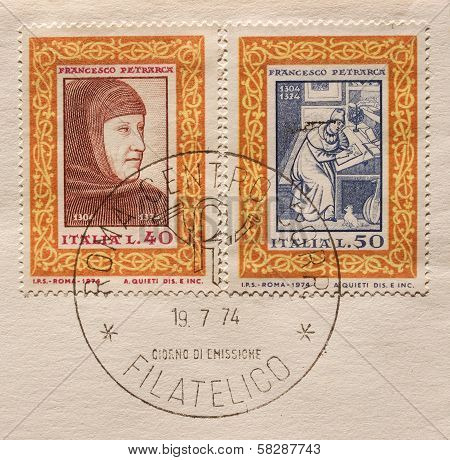 Italian Mail Stamps Bearing The Portrait Of Petrarch