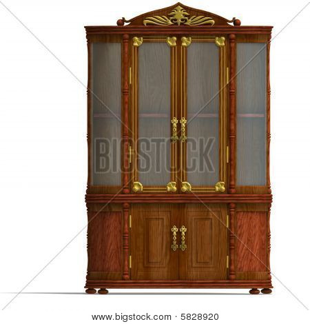 Wooden Cabinet With Glass Of Louis XV.