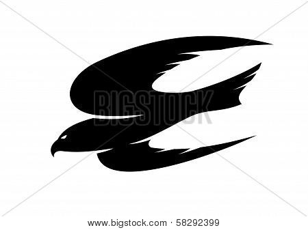 Abstract black illustration of an hawk flying