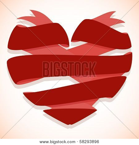 Red ribbon banner in the shape of heart