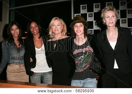 Janina Gavankar, Rose Rollins, Cybill Shepherd, Katherine Moennig and Jane Lynch at the 4th season kick-off party for