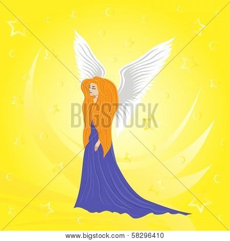 Woman Angel On Abstract Yellow Background