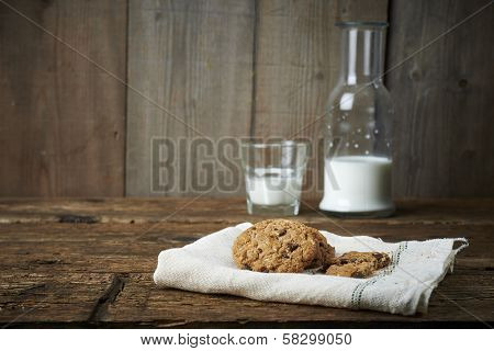 Chocolate Chip Cookies With Glass Of Milk, On Withe Cheesecloth