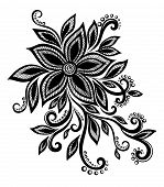 Beautiful Black And White Flower With Imitation Lace, Eyelets, Design Element