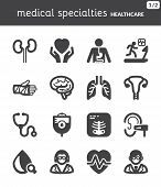 stock photo of flat stomach  - Set of black flat icons about health - JPG