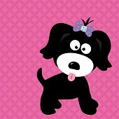 stock photo of droopy  - An illustration of a black puppy girl - JPG