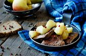 image of liver fry  - liver with apples on a wood background - JPG