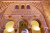 Horseshoe Arches Ambassador Room Alcazar Royal Palace Seville Spain