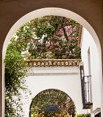 pic of rebuilt  - White Horseshoe Arches Pink Flowers Garden Ambassador Room Alcazar Royal Palace Seville Andalusia Spain - JPG