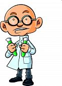 stock photo of mad scientist  - Cartoon bald scientist with two test tubes - JPG
