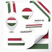 stock photo of hungarian  - Made in Hungary collection of ribbon label stickers pointer badge icon and page curl with Hungarian flag symbol on design element - JPG