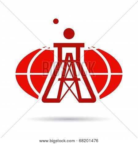 Vector Sign Of Global Chemical And Oil Industry