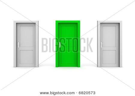 Três portas fechadas - cinza e verde