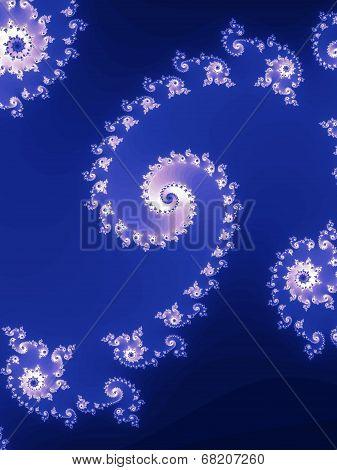Decorative fractal spiral in a blue colors.