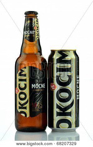 Okocim strong premium lager beer isolated on white background