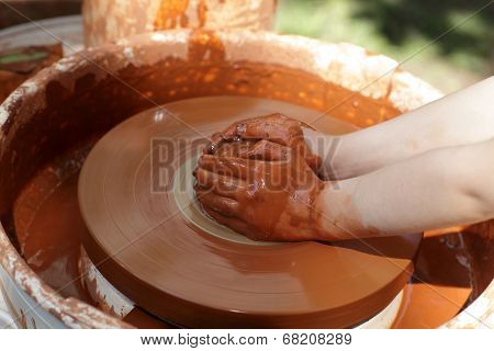 Hands On Pottery Wheel