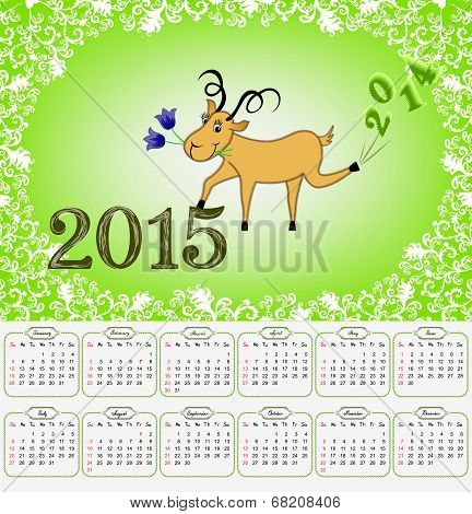 Calendar For 2015 With A Goat On A Green Background