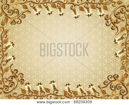Frame With Gold Embossed Pattern