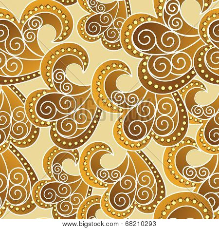 Ornate Seamless Pattern In Yellow And Brown Colors