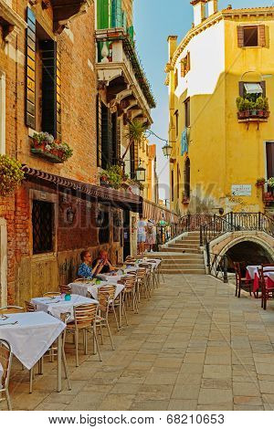 Street Cafe In Venice Italy