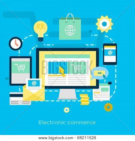 Electronic Commerce Flat Illustration
