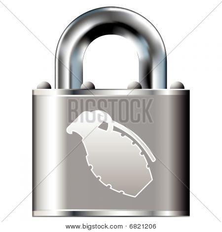 Hand grenade on padlock
