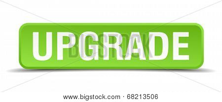 Upgrade Green 3D Realistic Square Isolated Button