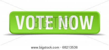 Vote Now Green 3D Realistic Square Isolated Button