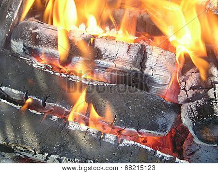 Flame and burning firewood.