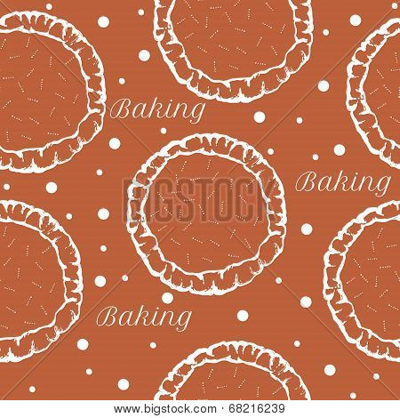vector pastry dough seamless pattern for pizza or pie
