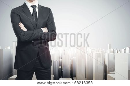 Businessman and modern city project