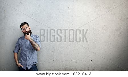 Bearded man thinking