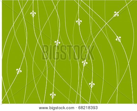 Fleur De Lys Wallpaper - Green Background