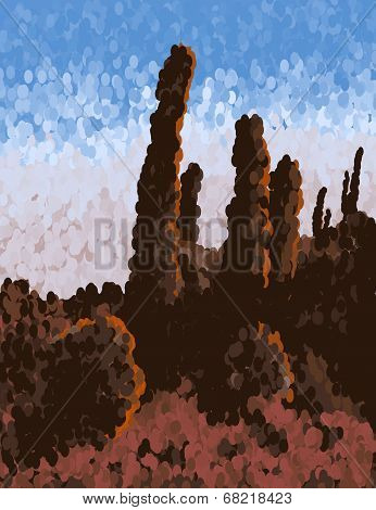 in the desert - inspired by pointilism
