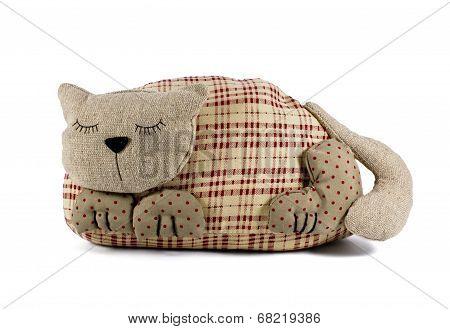 Stuffed Soft Sleeping Toy Cat Isolated Against White Background