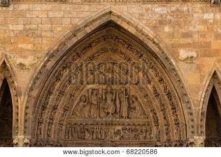 Archivolts And Tympanum Detail Of The Main Entrance Door In The Cathedral Of Leon