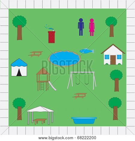 Park Map Icons Vector Pack
