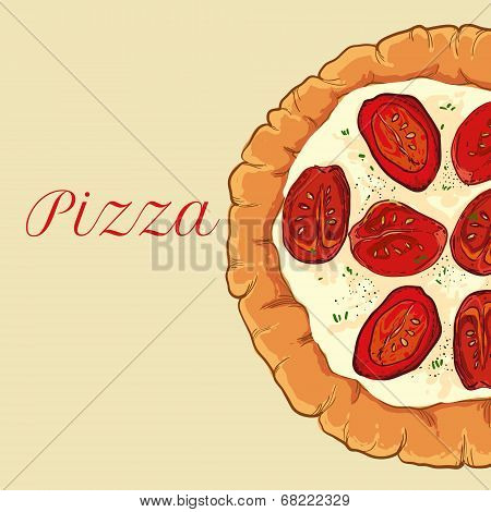 vector neapolitan pizza with white cheese, tomato and basil