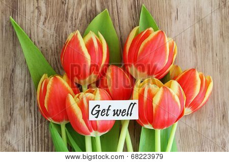 Get well card with red and yellow tulips