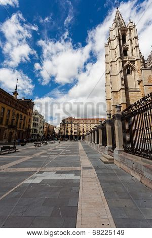 Cityscape Of Leon With Gotich Cathedral And Pedrestrian Square