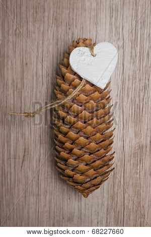 Heart Shaped Christmas Decoration And Spuce Cone.