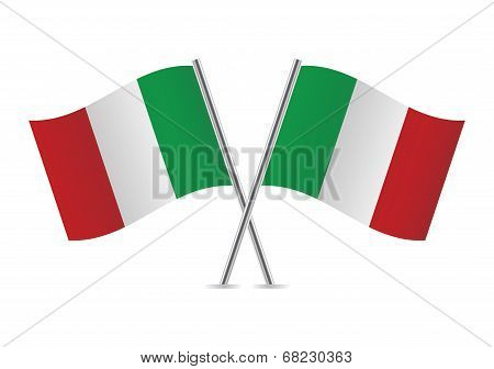Italian flags. Vector illustration.