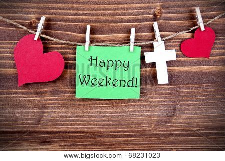 Green Tag With Happy Weekend