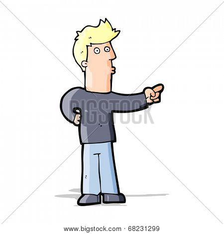 cartoon curious man pointing