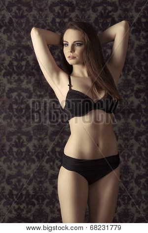 Young Woman In Black Lingerie