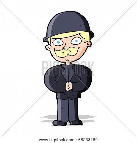 cartoon man in bowler hat