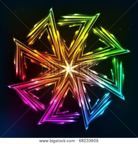 Bright neon lights vector sun symbol