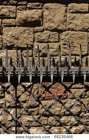 Impressive Forged  Tines In A Protective Security Barrier