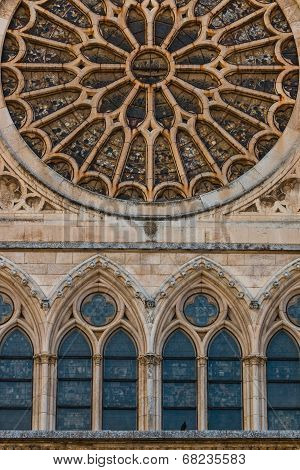 Lancet Arch Windows Under The Main Rose Window Of The Cathedral Of Leon